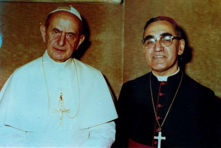 Pope Paul VI and Archbishop Oscar Romero pose together in an undated file photo Photo courtesy of Oficina de Canonizacion de Mons Oscar R