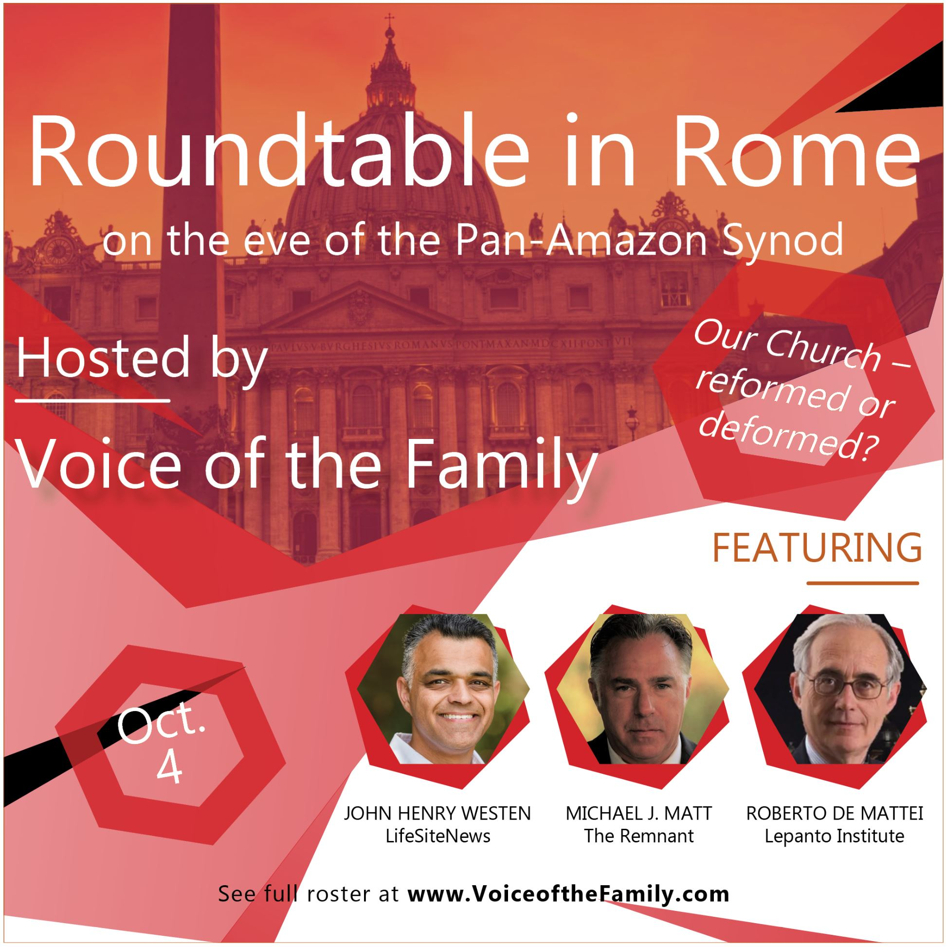 voice of the family ad Michael Matt in Rome