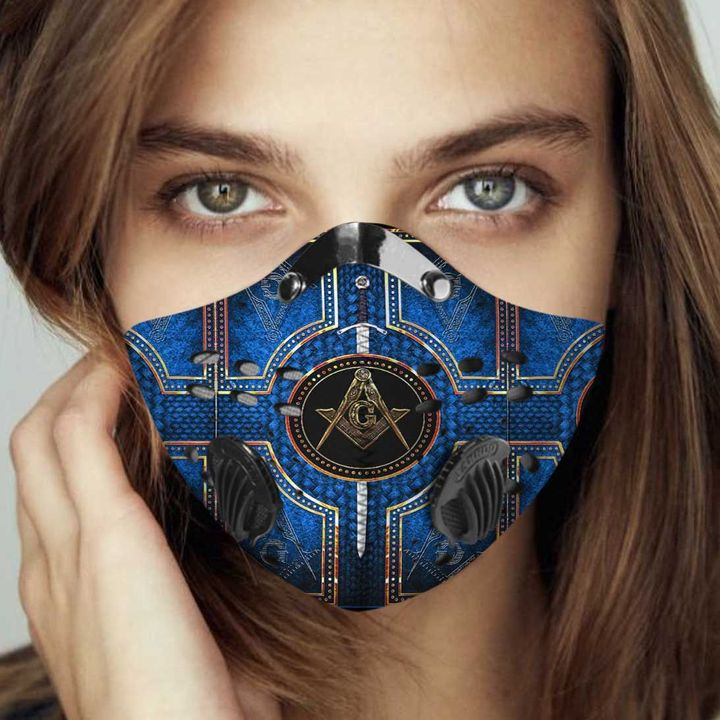 Freemason pride blue filter activated carbon face mask 3
