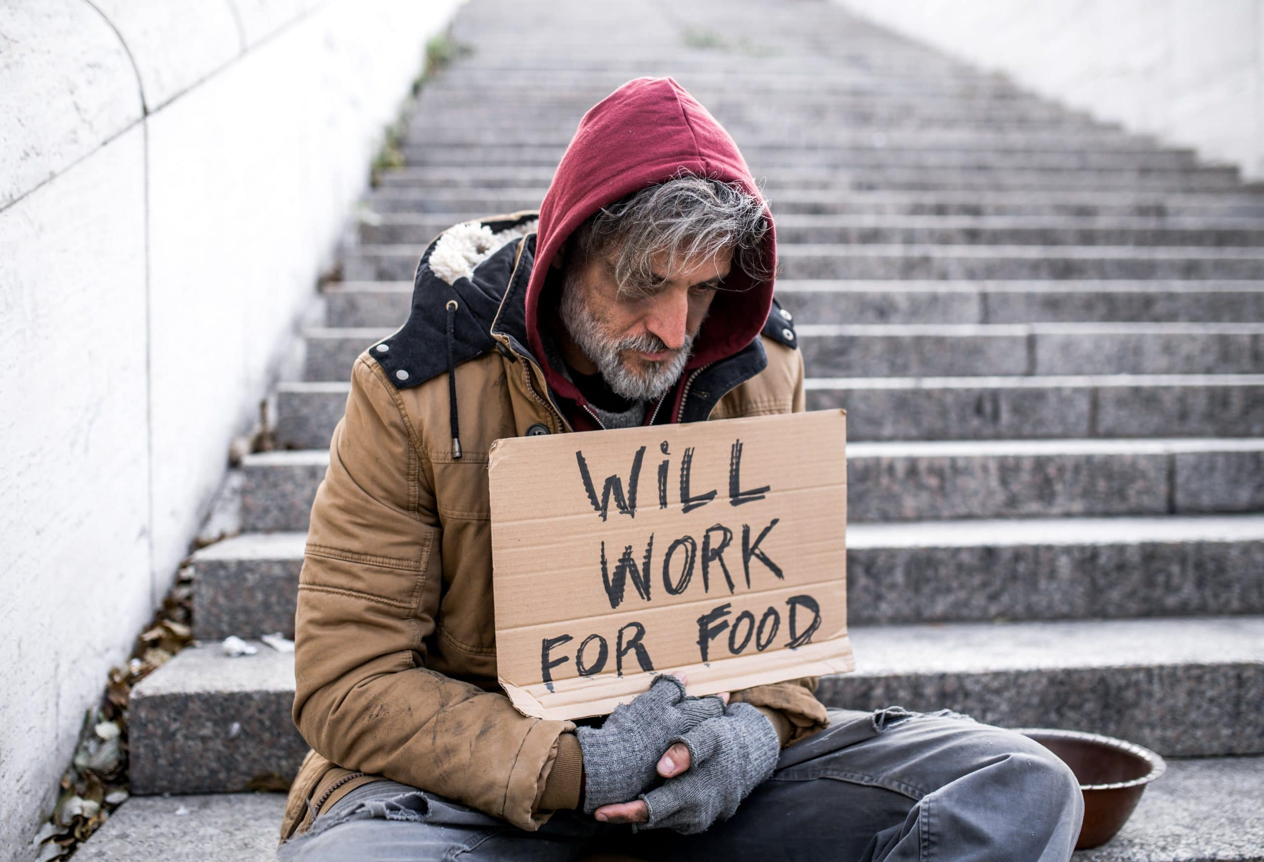 Homeless man willing to work