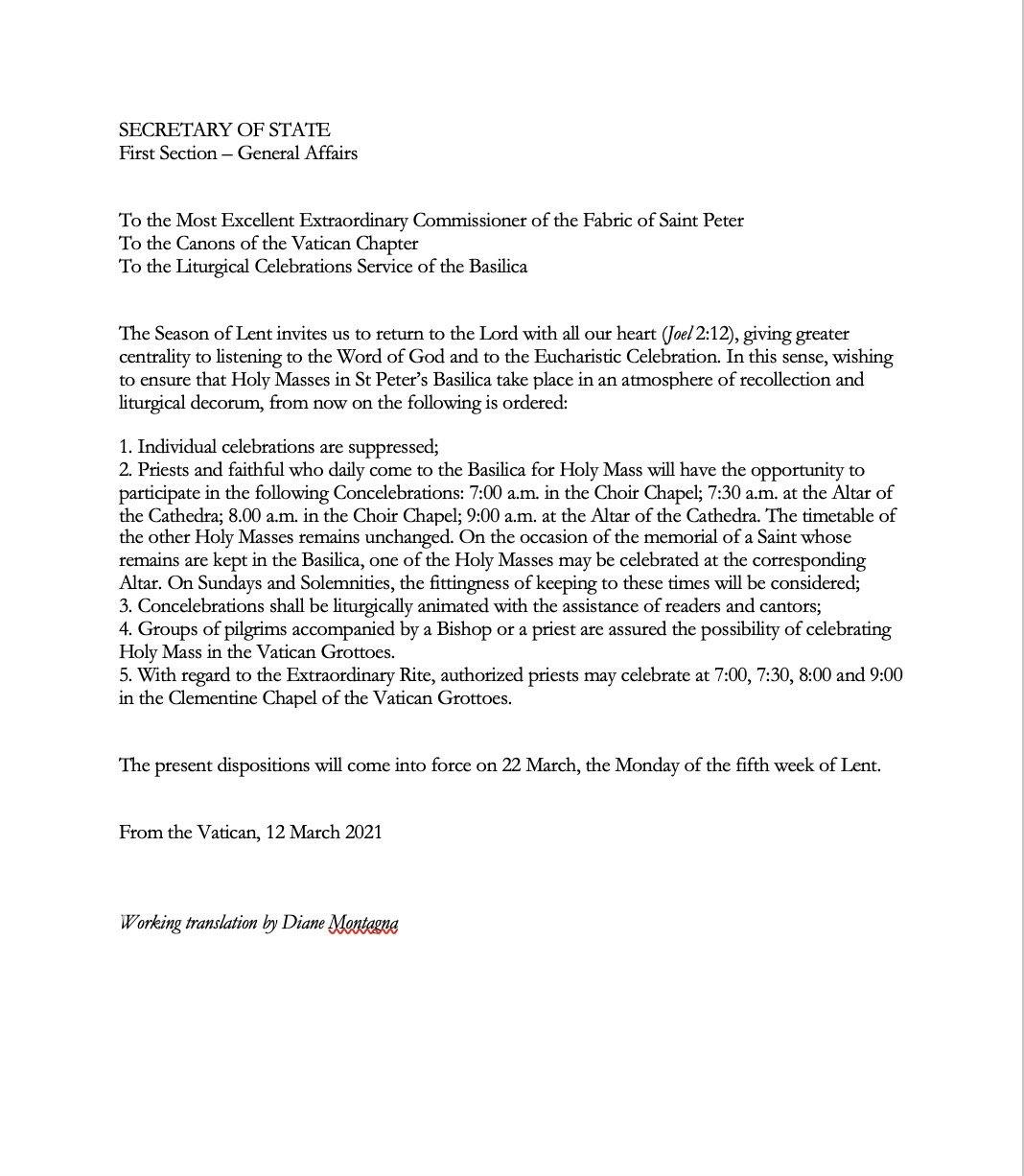 Vatican bans TLM in St Peters