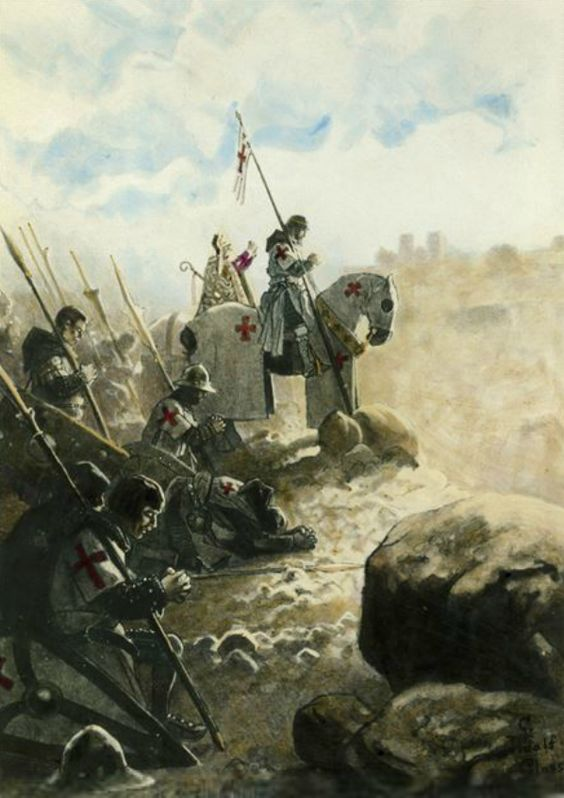 Knights Templar praying before battle