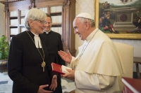 "Pope Francis with Sweden's Lutheran 'Archbishop' Antje Jackelan. The Pope referred to her as ""my esteemed sister"""